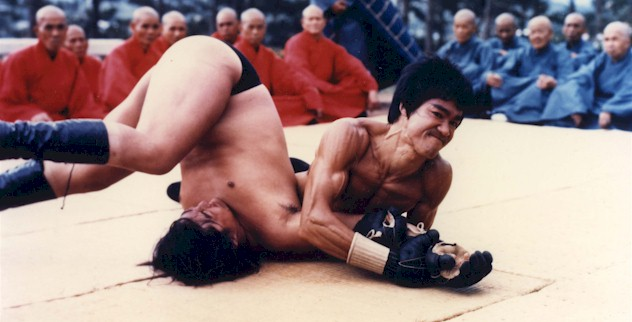 Bruce Lee Performing a Judo Move